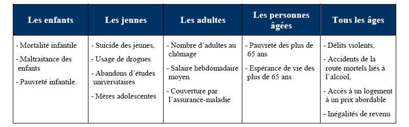 Les indices de l'indicateur de santé sociale